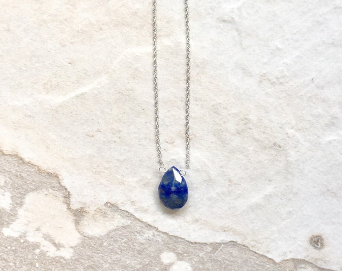 14k solid gold : Lapis lazuli solitaire necklace/teardrop delicate necklace