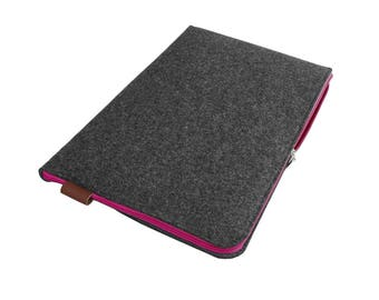 15'' MACBOOK SLEEVE dark gray felt cover with pink zipper All Sizes Avaliable Laptop / Notebook / Macbook