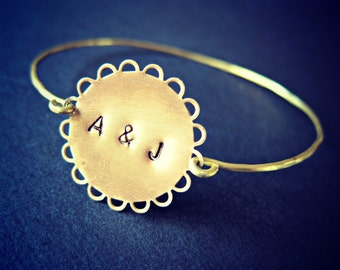 Personalized Gold Bangle, brass customizable bangle, lace bangle, stackable bangle, gift, initials, custom bracelet, monogrammed bracelet