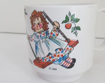 1969 Raggedy Ann Raggedy Andy Childs Cup Vintage Baby Cup Raggedy Ann Dolls Raggedy Andy Doll Oneida Ware Childs Cups Raggedy Ann Decor