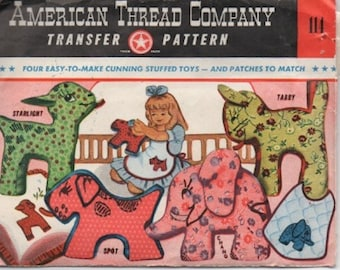 Vintage 1940s Transfer Pattern, 4 Four Stuffed Toys, American Thread Company
