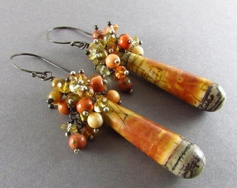 15 Off Picasso Jasper, Imperial Jasper and Citrine Oxidized Sterling Silver Cluster Earrings