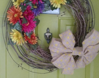 Grapevine flower wreath