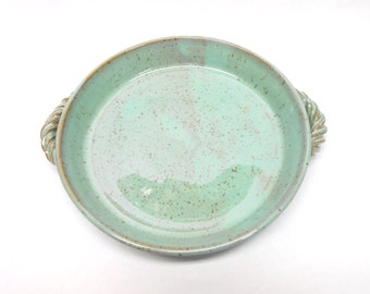 Pottery Casserole, Ceramic Casserole, Baking Dish, Pottery Brie Baker, Ceramic Brie Baker, Quiche Dish, Small in Speckled Turquoise