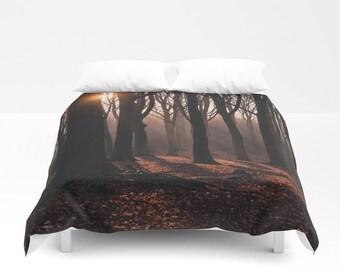 Forest Bedding, Forest Duvet Cover, Trees Bedding, Trees Duvet Cover, Nature Duvet Cover, Rustic Bedding, Wanderlust Themed