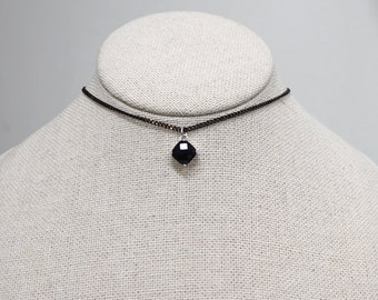 Black Choker,black crystal choker,chain choker, black chain choker,Simple Choker, choker necklace,christmas Gift, glass stone