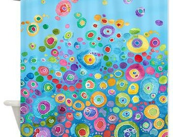 blue shower curtain fabric blue bubbles circles beautiful happy watercolor colorful shower - Colorful Shower Curtains
