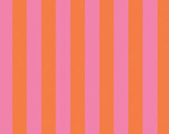 Taza Color Stripe By Dena Designs for Freespirit Fabric #DF-111 Unwashed Half Yard Quilting Cotton Rare, HTF, OOP Orange and Pink