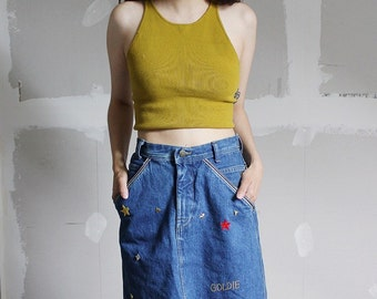 Vintage 80s Denim Pencil Skirt 28 Goldie