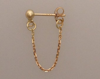 Single solid 18k yellow gold stud & chain earring (LCE023)