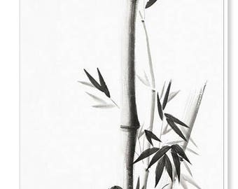 Print of the original sumi-e ink rice paper painting of bamboo stalks with leaves. Japanese oriental asian canvas or art print wall art