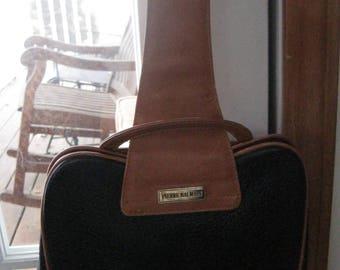 Vintage PIERRE BALMAIN Handbag-Pocketbook/Black Pebbled and Cognac Leather /Wrist Handle/Medium Size
