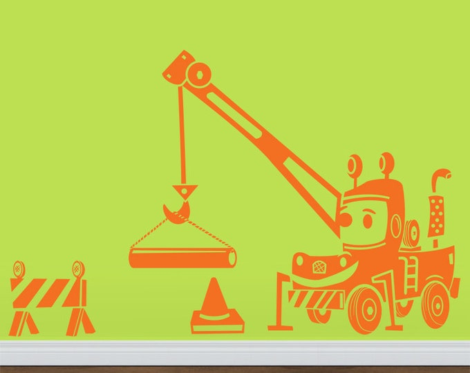 construction equipment wall decal- Happy Crane Truck Cartoon sticker art, boys room decal, FREE SHIPPING