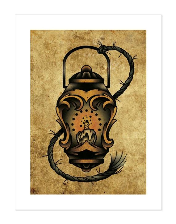 Lantern Neo-Traditional Tattoo Flash Art Print 12x16
