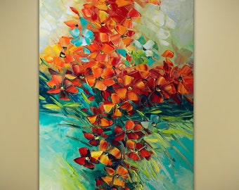 Full Bloom Flowers Oil Flower Bouquet ABSTRACT ORIGINAL Painting Contemporary Modern Textured Palette Knife by Lana Guise