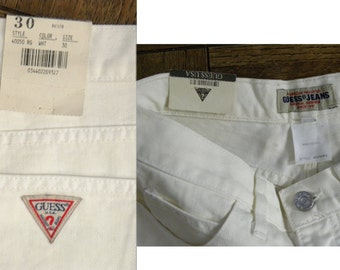 """1980s High Waist GUESS JEANS White Club Kid Ultra high jeans New Old Stock vintage size 30  (w - 29"""")"""