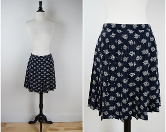Vintage retro black and tan print accordion pleat mini skirt