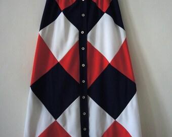 Vintage 70s patchwork button buttoned maxi skirt a-line hippie