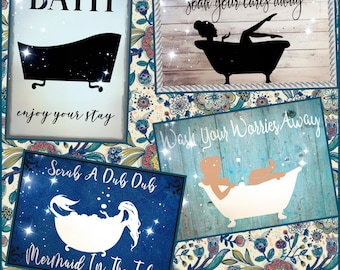 Bathroom Sign SVG Files - Claw foot tub Cut files - Tub Sign Silhouettes made for the Cricut and other cutting machines
