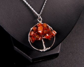 Tree of Life pendant in carnelian and silver - Autumn Maple