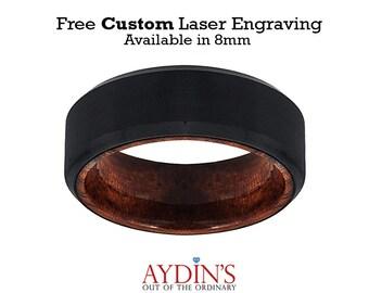 Tungsten Wooden Ring - Mens Wedding Band - Black Mens Ring - Man Ring - Wood Ring - Black Tungsten Wedding Band - Beveled Edge - Brushed
