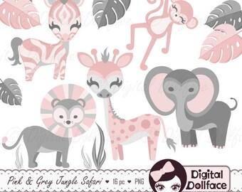 Pink Jungle Baby Shower Clip Art, Safari Animals, Baby Safari Clipart, Monkey, Giraffe, Zebra, Lion and Elephant