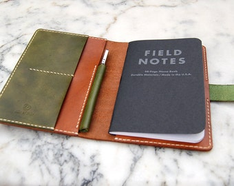 Field Notes Leather Cover, Leather Journal, Field Notes Cover, Handmade Notebook Cover