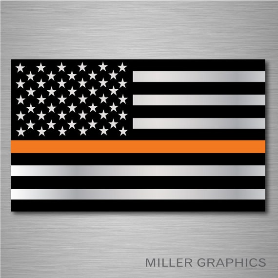 Ems Thin Orange Line American Flag Rescue Decal