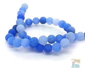 Blue: 10 beads frosted agate 10mm dragon veins, Crackle effect (PG215)
