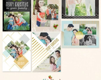 INSTANT DOWNLOAD 5x7 Christmas Card Bundle Photoshop Templates - One-sided Cards - CA466B