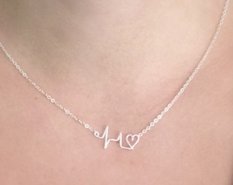 Silver Plated Mini Heartbeat Necklace