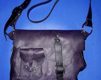 Purple Leather Messenger/Travel Bag OOAK