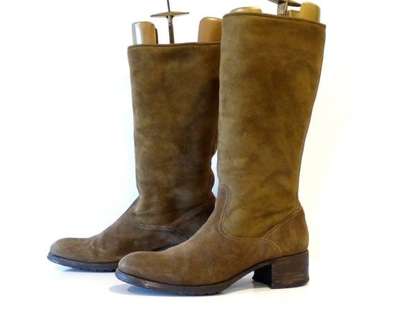 C Handmade On D Heel Vintage UK7 Real Brown Pull Sheepskin Women's Boots EUR41 Block Size N LUSITANIA xwIHff0