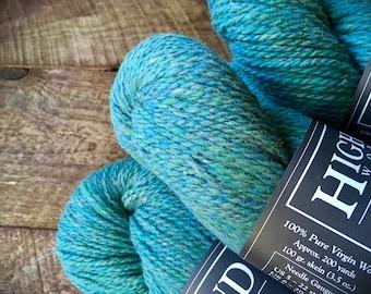 Wool yarn - Highland wool yarn, Worsted Weight, Woodsmoke, teal yarn, wool knitting yarn, crocheting yarn, worsted wool
