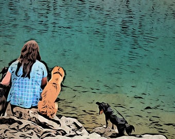 Custom portrait, dog and human