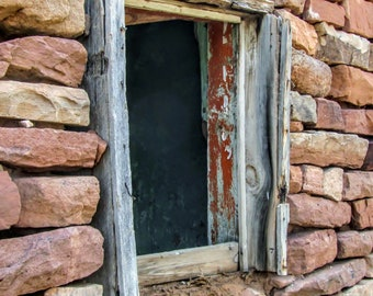 Abandoned Ranch, Adobe House, Window,  Southwest Art, Original Photograph, 5 x 7 Matted Photograph