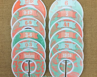 "Closet Dividers, Baby Shower Gift, Newborn Baby Gift, Baby Girl Gift, Infant, Toddler, Child, size dividers, ""Carla"" Coral and Mint Damask"