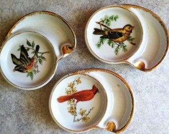 3 Ucagco Ceramics Individual  Porclean Bird Glass Holder and Ashtrays  with Gold Trim ~ Made in Japan