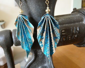 Origami earrings turquoise lace printed kraft paper