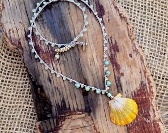 Crocheted Beach Jewelry / Sunrise Shell Necklace Crocheted / Hawaiian Yellow Orange Fan Shell Jewelry / Dainty Beach Jewelry / Mermaid