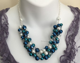 Navy and Teal Wedding Teal and Navy Cluster Necklace Bridesmaids Gift Bridesmaids Necklace Navy Teal Pearl Necklace Bridesmaid Jewelry
