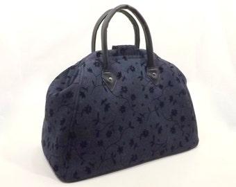 Mary Poppins Style Carpet Bag Handbag/ Travel Bag/ Flocked Denim