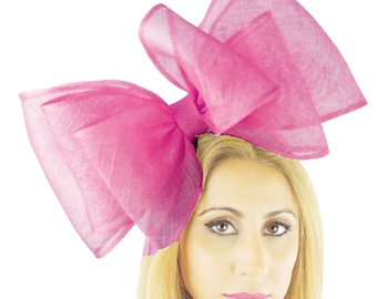 Cliverina 12 Inch Fuchsia Pink Fascinator Hat for Weddings, Races, and Special Events With Headband