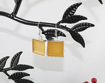EARRINGS 925 sterling silver square yellow enamel
