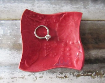 Square Trinket Dish, Coin dish, Jewelry Dish, Matte Raspberry Glaze - great for rings or spoon rest