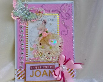 Happy Birthday card. Personalised card. Handmade boxed card. 60th birthday card. 50th birthday card. Anniversary card. Mom60th Birthday.