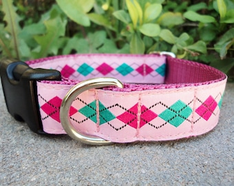 """Sale Dog Collar Pink & Teal  Argyle 1"""" Quick Release buckle adjustable - No martingale, limited ribbon - sizes S - XL"""