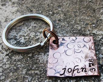 """Bible Verse John 3:16 - Textured Hand Stamped 3/4"""" Square scripture keychain"""