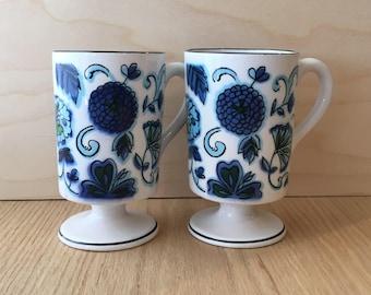 Howard Holt mod pedestal mugs sold individually blue floral design
