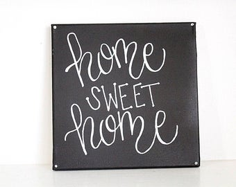 home sweet home // quote canvas, black and white, home decor, 10x10, square canvas, wall decor, calligraphy, handmade, neutral